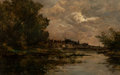 Fine Art - Painting, American, Maurice Levis (French, 1860-1940). Landscape. Oil on canvas.23 x 39 inches (58.4 x 99.1 cm). Sign...