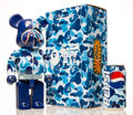 Collectible:Contemporary, BE@RBRICK X BAPE. Shark Hoddie 400% with BAPE Pepsi Cans (Blue), 2001; 2015. Painted cast resin with aluminum bottle...