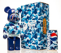BE@RBRICK X BAPE Shark Hoddie 400% with BAPE Pepsi Cans (Blue), 2001; 2015 Painted cast resin with aluminum bottle