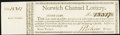Colonial Notes:Connecticut, Connecticut - Norwich Channel Lottery Half Ticket Second Class with full Stub ND circa 1780 Very Fine-Extremely Fine.. ...