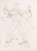 Original Comic Art:Covers, Fred Ray Superman #11 Cover Re-Creation Illustration Original Art and Ephemera Group of 7 (undated).... (Total: 7 Items)