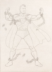 Fred Ray Superman #11 Cover Re-Creation Illustration Original Art and Ephemera Group of 7 (undated).... (Total: 7 Items)