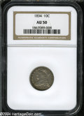Bust Dimes: , 1834 10C Small 4 AU50 NGC. ...