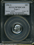 Proof Roosevelt Dimes: , 1981-S 10C Type One PR70 Deep Cameo PCGS....