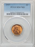 1937 1C MS67 Red PCGS. PCGS Population: (512/2). NGC Census: (1223/0). CDN: $100 Whsle. Bid for problem-free NGC/PCGS MS...