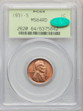 Lincoln Cents: , 1931-S 1C MS64 Red PCGS. CAC. PCGS Population: (1575/1020). NGC Census: (546/266). CDN: $200 Whsle. Bid for problem-free NG...