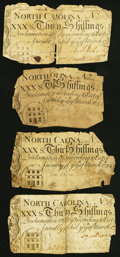 Colonial Notes:North Carolina, North Carolina March 9, 1754 30s Four Examples Very Good or Better.. ... (Total: 4 notes)