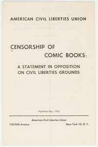 Censorship of Comic Books: A Statement in Opposition on Civil Liberties Grounds (ACLU, 1955) Condition: VG+