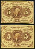 Fractional Currency:First Issue, Fr. 1231 5¢ First Issue Two Examples About New.. ... (Total: 2 notes)