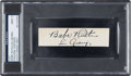 Baseball Collectibles:Others, Circa 1930 Babe Ruth & Lou Gehrig Signed Cut Signature, PSA/DNA Mint 9....