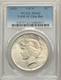 Peace Dollars, 1923 $1 Chin Bar, VAM-1F, MS63 PCGS. A Top 50 Variety. PCGS Population: (45/76). MS63....