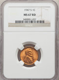 Lincoln Cents: , 1947-S 1C MS67 Red NGC. NGC Census: (541/0). PCGS Population: (248/0). CDN: $170 Whsle. Bid for problem-free NGC/PCGS MS67....