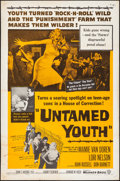 """Movie Posters:Exploitation, Untamed Youth (Warner Brothers, 1957). Folded, Fine/Very Fine. One Sheet (27"""" X 41""""). Exploitation.. ..."""