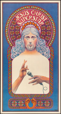 "Jesus Christ Superstar (MCA, 1971). Rolled, Near Mint. Broadway Promotional Poster (16"" X 30"") David Byrd Artw..."
