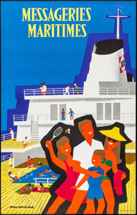 """Messageries Maritimes (c. Late 1960s). Rolled, Very Fine. Travel Poster (25.25"""" X 39.75"""") Jean Desaleux Artwor..."""