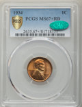 1934 1C MS67+ Red PCGS. CAC. PCGS Population: (389/27 and 86/0+). NGC Census: (448/6 and 10/0+). CDN: $150 Whsle. Bid fo...