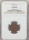 Indian Cents: , 1908-S 1C XF40 NGC. NGC Census: (333/1228). PCGS Population: (485/1497). CDN: $160 Whsle. Bid for problem-free NGC/PCGS XF4...