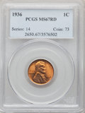Lincoln Cents: , 1936 1C MS67 Red PCGS. PCGS Population: (315/0). NGC Census: (680/1). CDN: $150 Whsle. Bid for problem-free NGC/PCGS MS67. ...