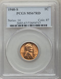 Lincoln Cents: , 1940-S 1C MS67 Red PCGS. PCGS Population: (281/2). NGC Census: (746/0). CDN: $125 Whsle. Bid for problem-free NGC/PCGS MS67...