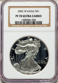 Modern Bullion Coins, 2002-W $1 Silver Eagle PR70 Ultra Cameo NGC. NGC Census: (5473). PCGS Population: (2979). ...