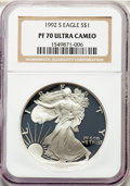 Modern Bullion Coins, 1992-S $1 Silver Eagle PR70 Ultra Cameo NGC. NGC Census: (1451). PCGS Population: (1623). ...