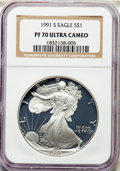 Modern Bullion Coins, 1991-S $1 Silver Eagle PR70 Ultra Cameo NGC. NGC Census: (1143). PCGS Population: (1347). ...