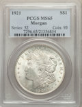 Morgan Dollars, 1921 $1 MS65 PCGS. PCGS Population: (5821/729). NGC Census: (9509/671). CDN: $100 Whsle. Bid for problem-free NGC/PCGS MS65...