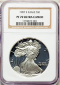 Modern Bullion Coins, 1987-S $1 Silver Eagle PR70 Ultra Cameo NGC. NGC Census: (1356). PCGS Population: (1948). ...