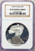 Modern Bullion Coins, 1990-S $1 Silver Eagle PR70 Ultra Cameo NGC. NGC Census: (2292). PCGS Population: (3167). ...