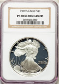 Modern Bullion Coins, 1989-S $1 Silver Eagle PR70 Ultra Cameo NGC. NGC Census: (1805). PCGS Population: (2634)....