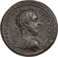 Ancients:Roman Imperial, Ancients: Marcus Aurelius (AD 161-180). AE medallion (38mm, 50.68gm, 11h). NGC Choice VF 5/5 - 3/5, Fine Style, edge ...