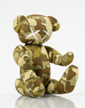 Collectible:Contemporary, BAPE X KAWS. Green Camo Bear. Cotton and polyester plush toy. 7-1/2 x 5 x 5-1/2 inches (19.1 x 12.7 x 14 cm). Signed by ...