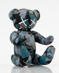 Collectible:Contemporary, BAPE X KAWS. Blue Camo Bear. Cotton and polyester plush toy. 7-1/2 x 5 x 5-1/2 inches (19.1 x 12.7 x 14 cm). Signed by K...