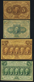 Fractional Currency:First Issue, Fr. 1230 5¢ First Issue Fine;. Fr. 1242 10¢ First Issue Very Good;. Fr. 1281 25¢ First Issue Very Fine;. Fr. 1312 ... (Total: 4 notes)
