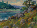 Fine Art - Painting, American, Clyde Leon Keller (American, 1872-1962). River Scene. Oil on canvas laid on board. 12 x 16 inches (30.5 x 40.6 cm). Sign...
