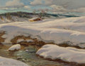 Paintings:Modern (1900-1949), Constantin Alexandrovitch Westchiloff (Russian, 1877-1945). Snow Covered Hills. Oil on canvas. 18 x 21 inches (45.7 x 53...