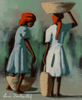 American, Claude Dambreville (Haitian, 20th century). Two Girls. Acrylic on canvas. 10 x 8 inches (25.4 x 20.3 cm). Signed lower l...
