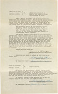 Football Collectibles:Others, 1925 Jim Thorpe Signed Lease Document, PSA/DNA Mint 9. ...