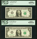 Fancy Serial Numbers 10020, 10030, 10060, 10070, and 10090 Fr. 1933-F $1 2006 Federal Reserve Notes. PCGS Gem New 65PPQ-...