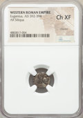 Ancients:Roman Imperial, Ancients: Eugenius, Western Roman Empire (AD 392-394). AR siliqua(12mm, 12h). NGC Choice XF, clipped....