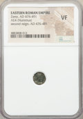 Ancients:Roman Imperial, Ancients: Zeno, Eastern Roman Empire, second reign (AD 474-491).AE4 or nummus (9mm, 1h). NGC VF....