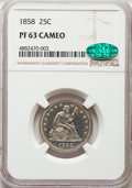 Proof Seated Quarters, 1858 25C PR63 Cameo NGC. CAC....