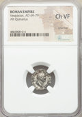 Ancients:Roman Imperial, Ancients: Vespasian (AD 69-79). AR quinarius (14mm, 5h). NGC ChoiceVF, scratches....