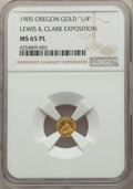 Western Souvenir Gold, 1905 Lewis & Clark Exposition 1/4 Oregon Gold, MS65 Prooflike NGC....