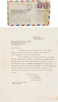 Autographs:Inventors, Albert Einstein Typed Letter Discussing God, Signed