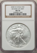 Modern Bullion Coins, 2008-W $1 Silver Eagle, Reverse of 2007, Burnished, 70 NGC. NGC Census: (4882). PCGS Population: (561). ...