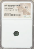 Ancients:Roman Imperial, Ancients: Zeno, Eastern Roman Empire, second reign (AD 474-491).AE4 or nummus (9mm, 7h). NGC XF....