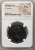 Ancients:Roman Imperial, Ancients: Septimius Severus (AD 193-211). AE sestertius (32mm, 12h). NGC VF★ ....