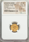Ancients:Byzantine, Ancients: Theophilus (AD 829-842). AV solidus (16mm, 3.60 gm, 6h). NGC Choice AU 5/5 - 3/5, edge marks....