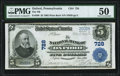 National Bank Notes:Pennsylvania, Oxford, PA - $5 1902 Plain Back Fr. 598 The NB of Oxford Ch. # 728 PMG About Uncirculated 50.. ...